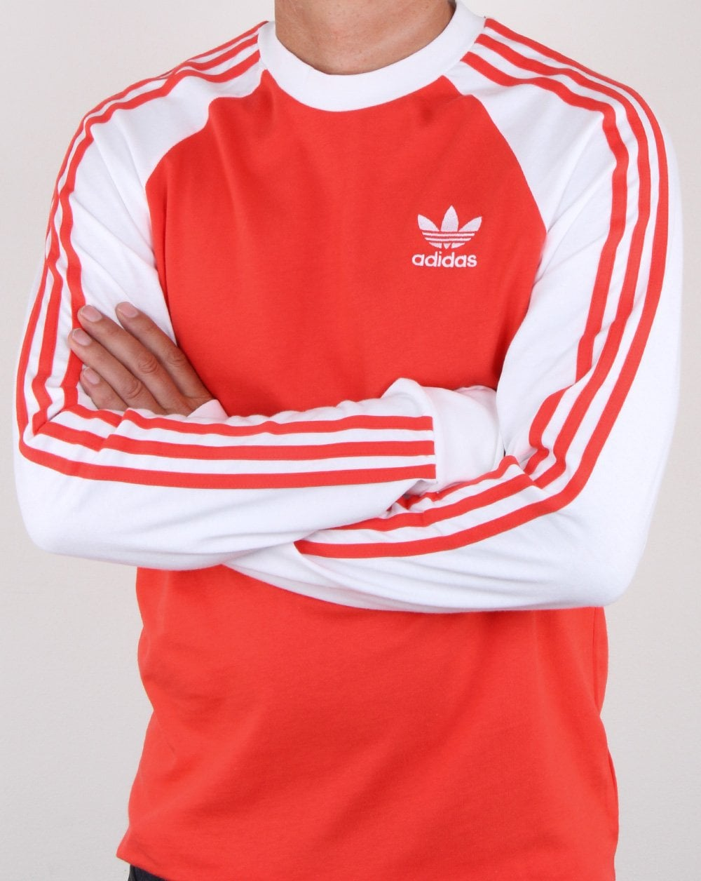 d22eec40 Adidas Originals 3 Stripes Long Sleeve T Shirt Bright Red