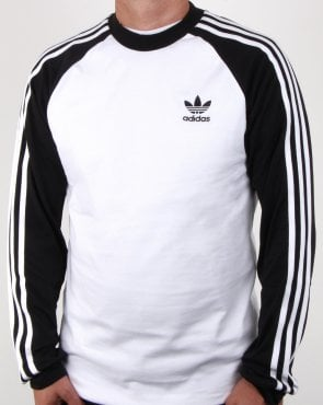 Adidas Originals 3 Stripes Long Sleeve T Shirt White/black