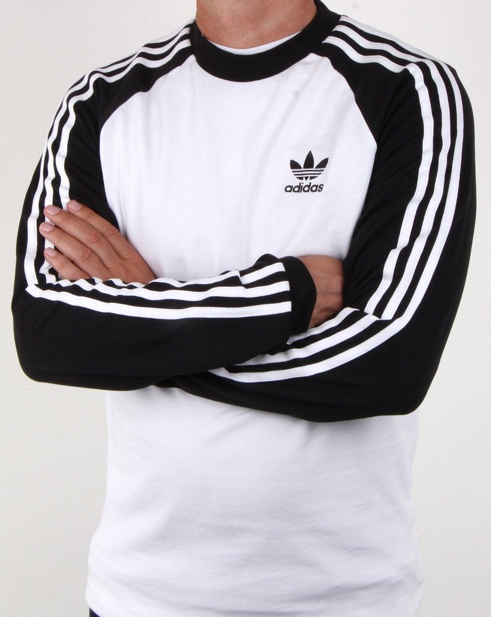 28ad3627171d Adidas Originals 3 Stripes Long Sleeve T Shirt White black