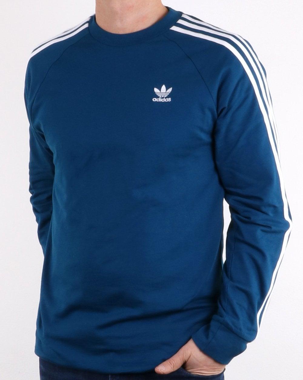 b155380030 adidas Originals Adidas Originals 3 Stripes Long Sleeved T Shirt Legend  Marine
