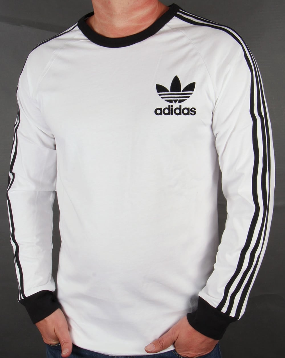 Adidas originals 3 stripes long sleeve t shirt white black for Adidas long sleeve t shirt with trefoil logo