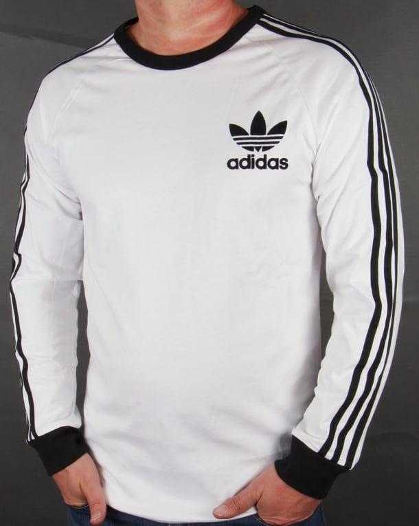 Adidas originals 3 stripes long sleeve t shirt white black for Long sleeved white t shirts