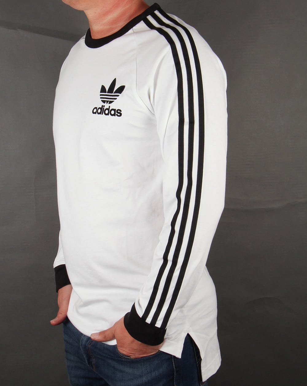 Black t shirt with white stripes - Adidas Originals 3 Stripes Oversized Long Sleeve T Shirt White Black