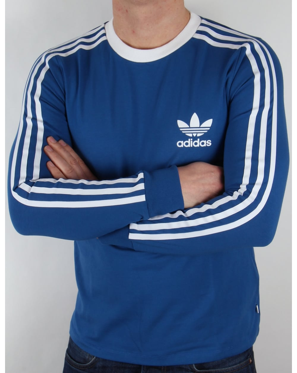 Adidas originals 3 stripes long sleeve t shirt eqt blue for Adidas long sleeve t shirt with trefoil logo