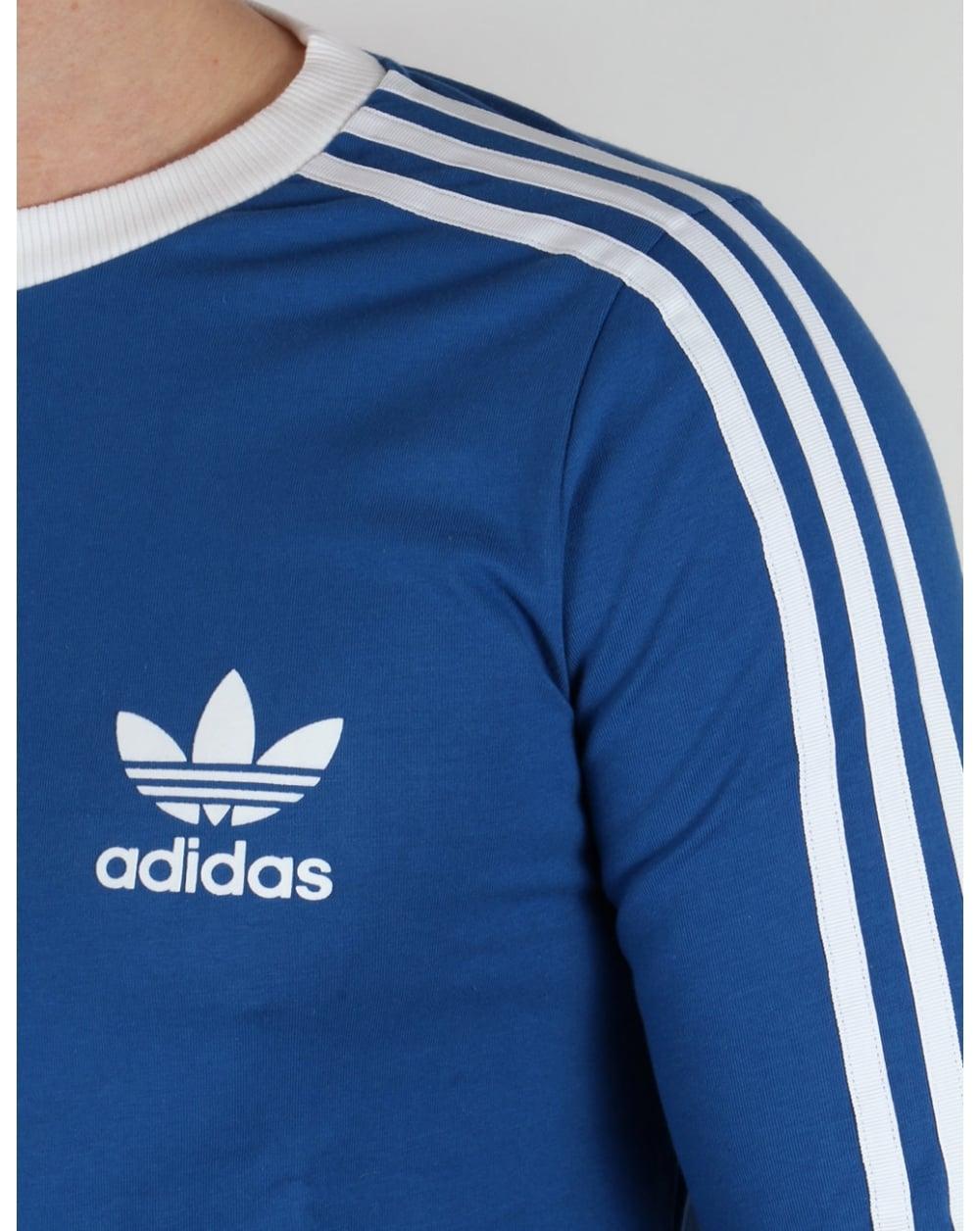 Adidas Originals 3 Stripes Long Sleeve T Shirt Eqt Blue Tee Trefoil