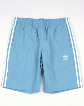 Adidas Originals 3 Stripes Swim Shorts Ash Blue