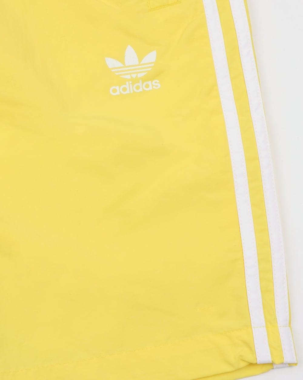 22502d4767 Adidas Originals 3 Stripes Swim Shorts Lemon,beach,swimmers,originals