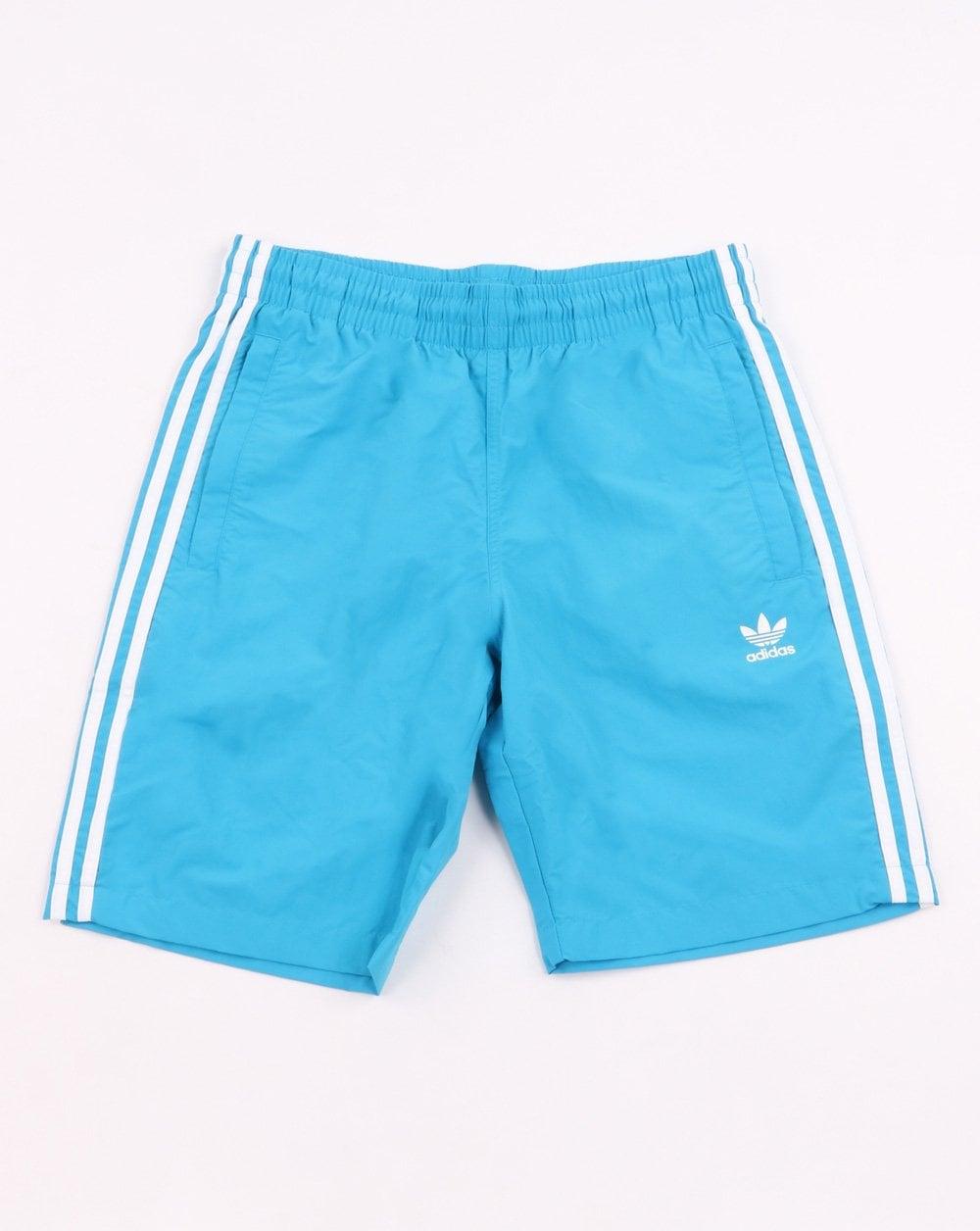8000e07557 Adidas Originals 3 Stripes Swim Shorts Shock Cyan | 80s Casual Classics