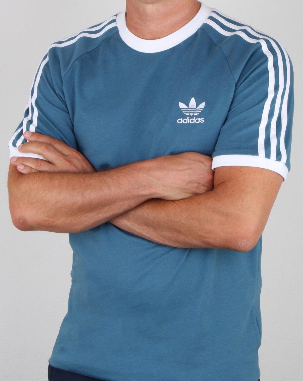 Adidas Originals 3 Stripes T Shirt Blanch Blue
