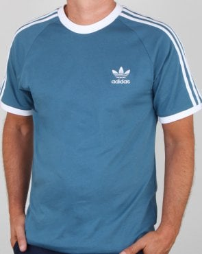 Adidas Originals 3 Stripes T Shirt Blanch Blue