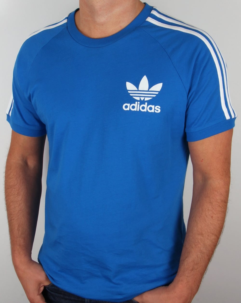 Adidas originals 3 stripes t shirt bluebird blue for Adidas lotus t shirt