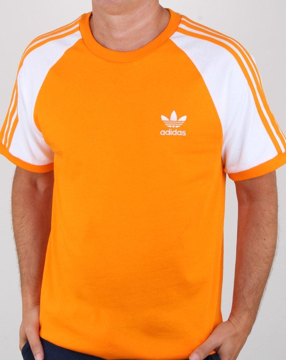 4a670082aa08 Adidas Originals 3 Stripes T Shirt Bright Orange