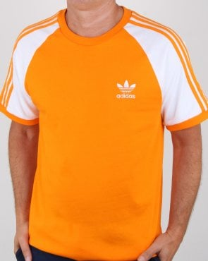 Adidas Originals 3 Stripes T Shirt Bright Orange