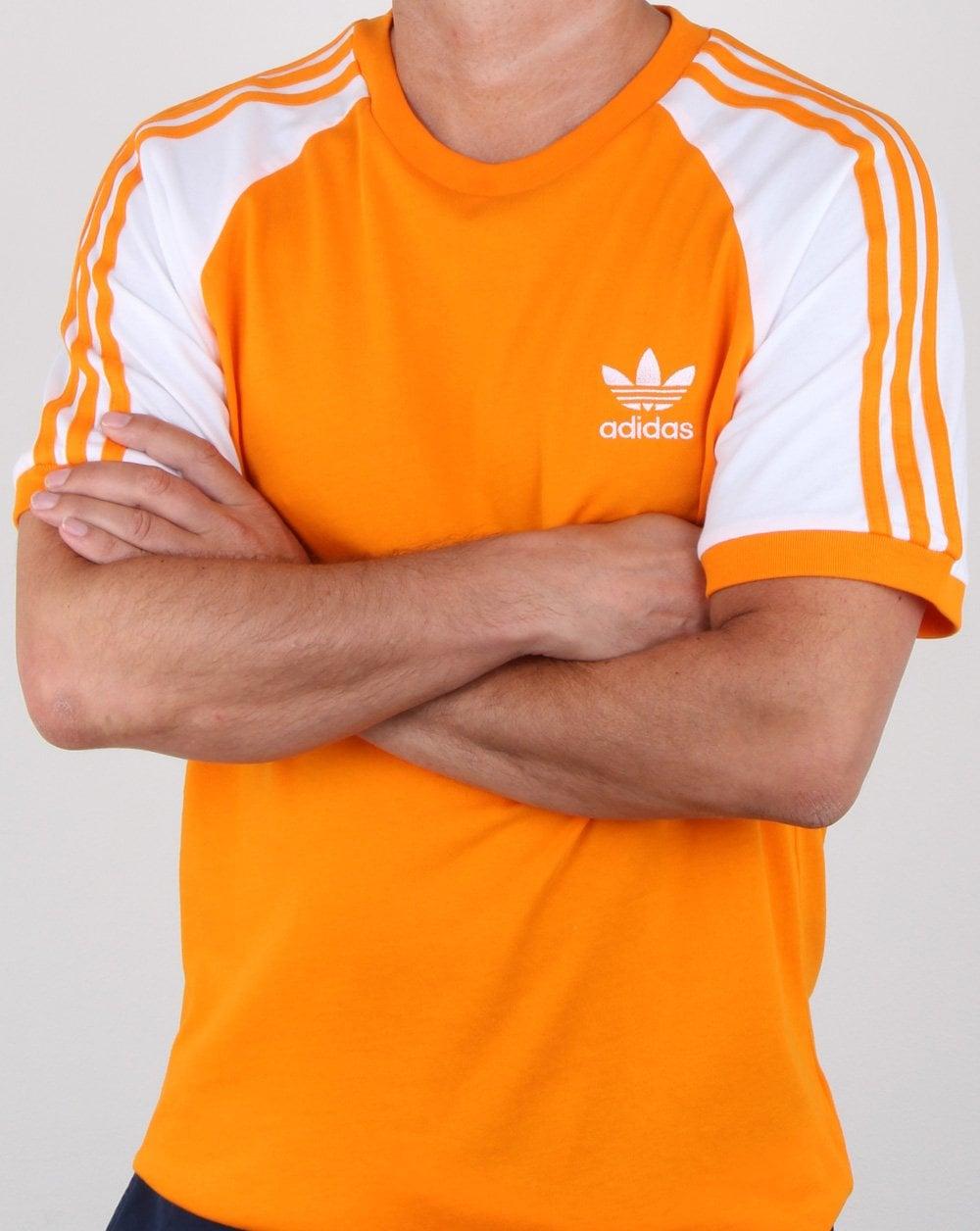 76567c877 Adidas Originals 3 Stripes T Shirt Bright Orange, Mens, Trefoil, Crew