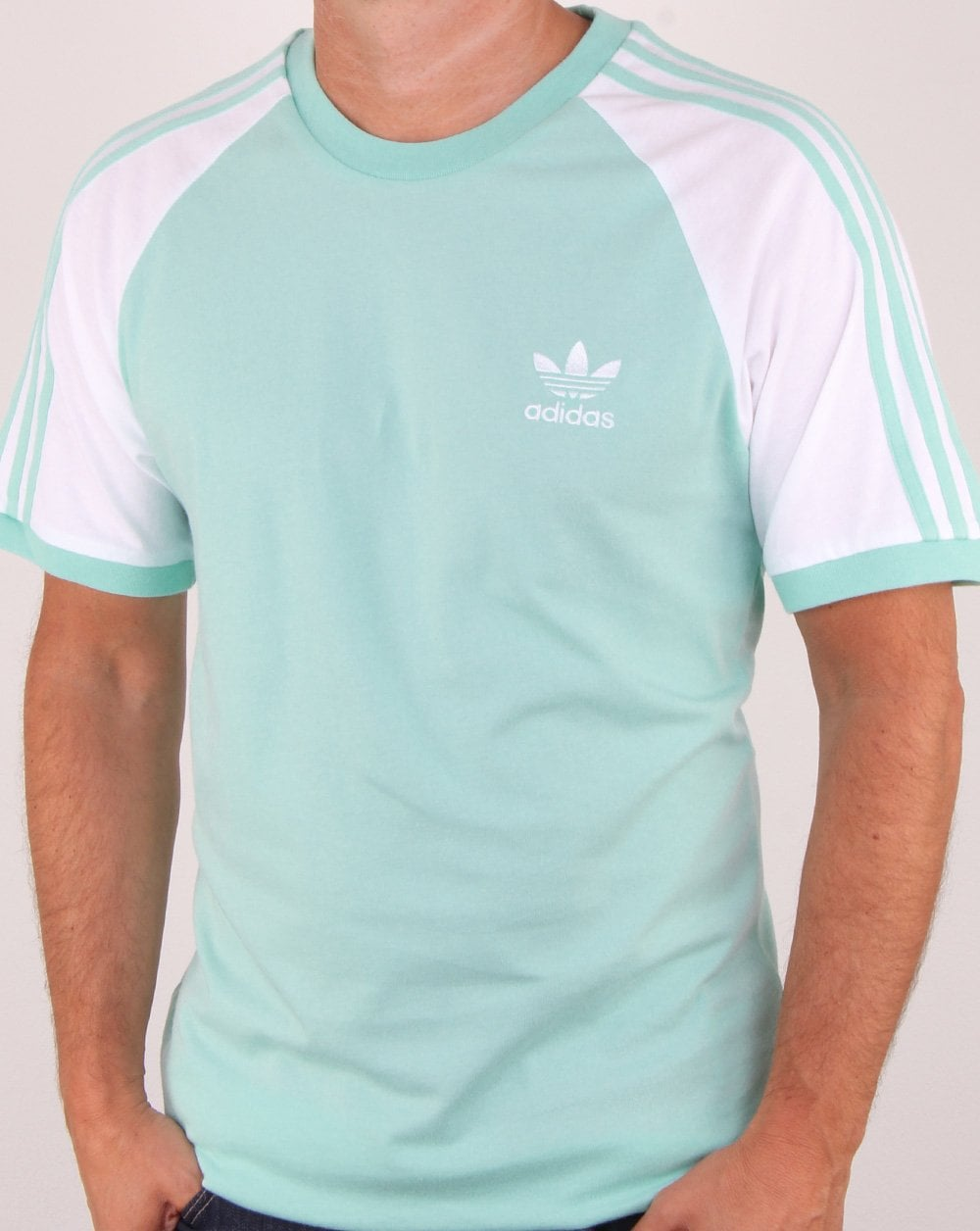 bc387143 Adidas Originals 3 Stripes T Shirt Clear Mint, Mens, Tee, Cotton, Crew