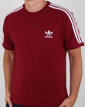 Adidas Originals 3 Stripes T Shirt Collegiate Burgundy