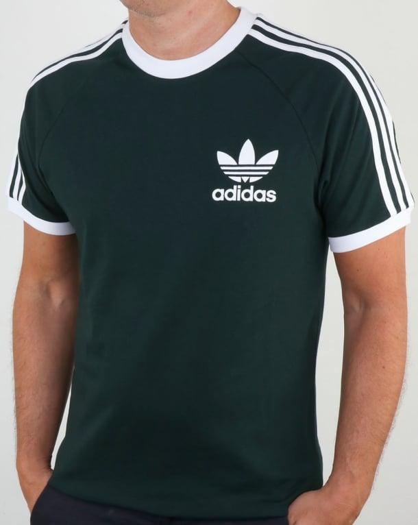 Adidas Originals 3 Stripes T Shirt Green Night