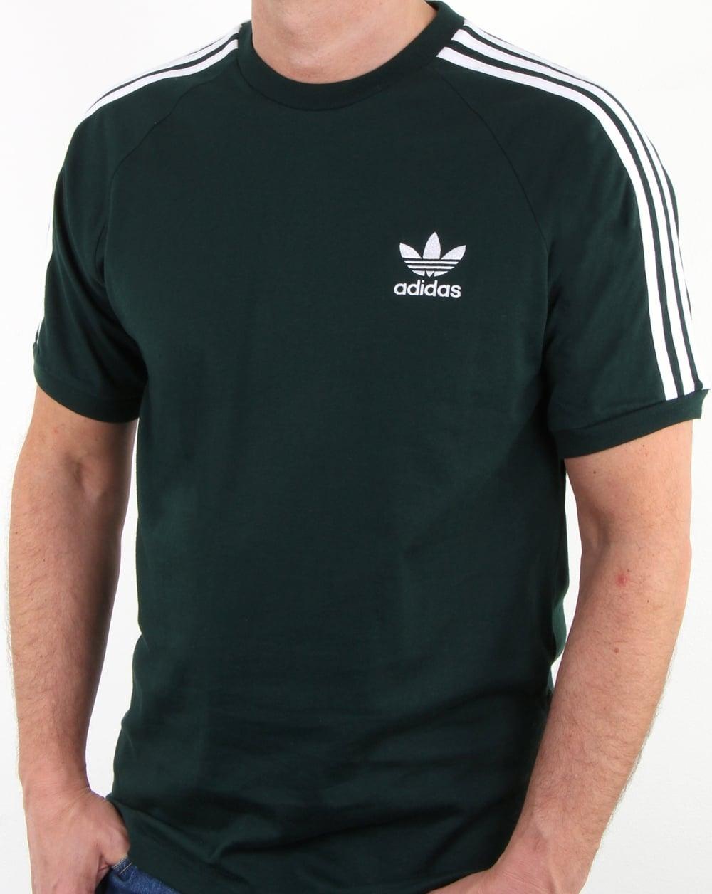 adidas originals 3 stripes t shirt green mens cotton