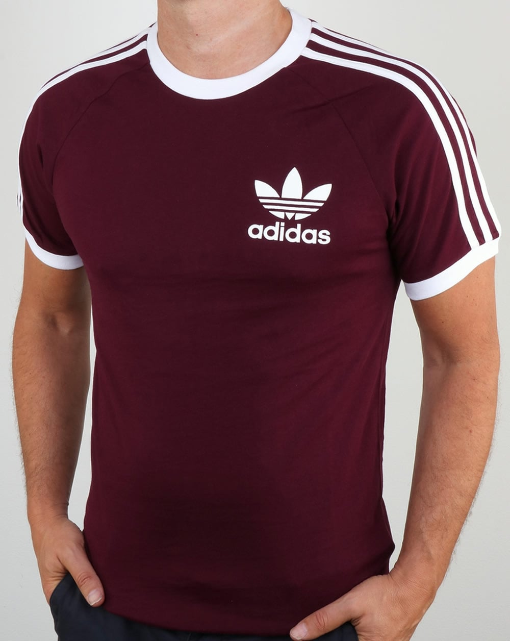 Adidas originals clfn t shirt maroon3 stripes originals for Adidas lotus t shirt