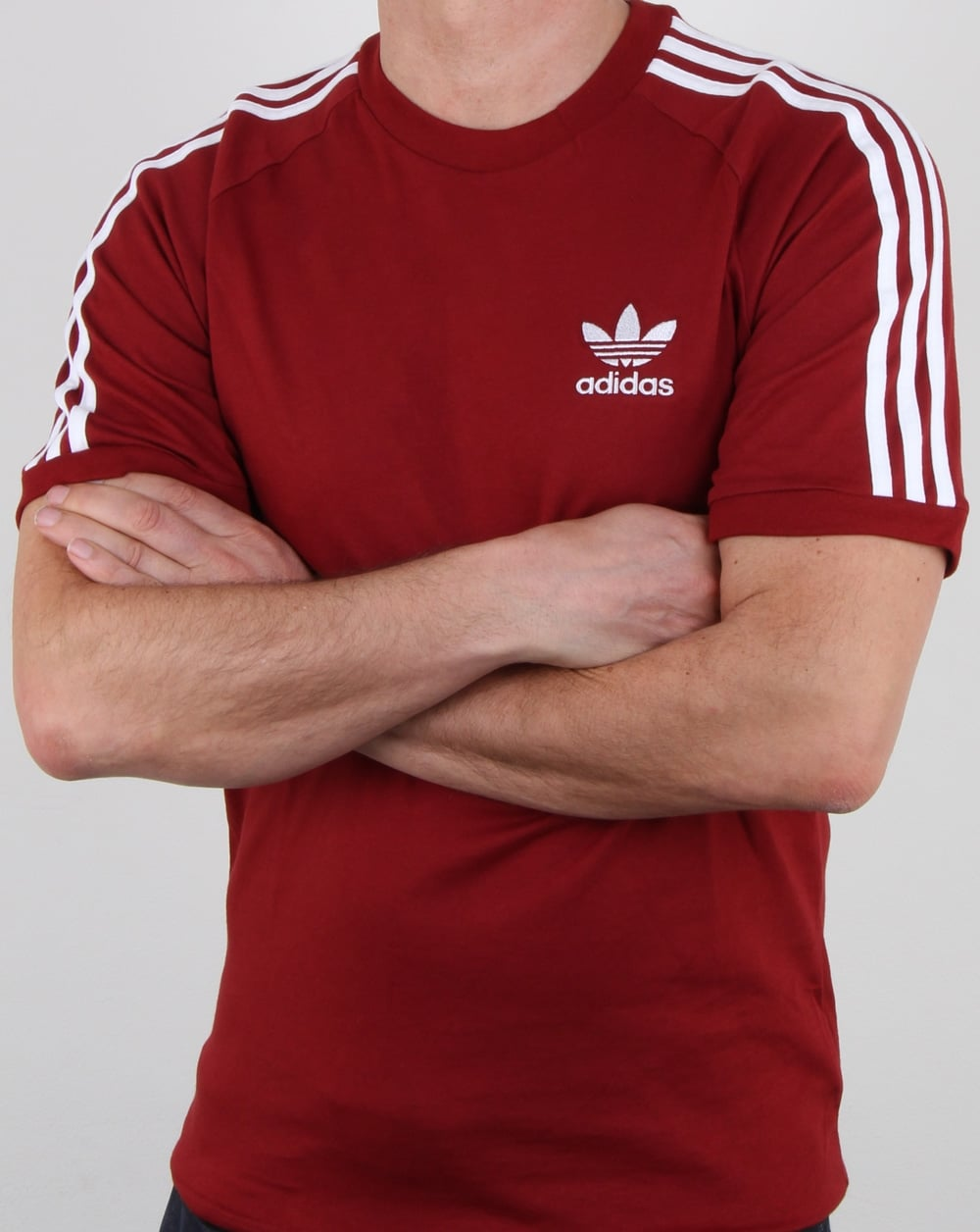 Adidas Originals 3 Stripes T Shirt Rust Red