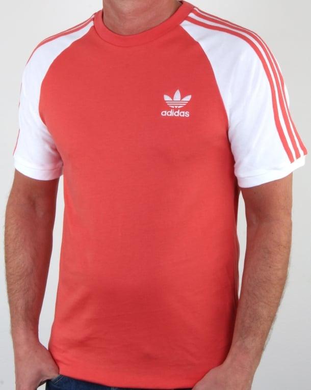 Adidas Originals 3 Stripes T Shirt Scarlet Red/White