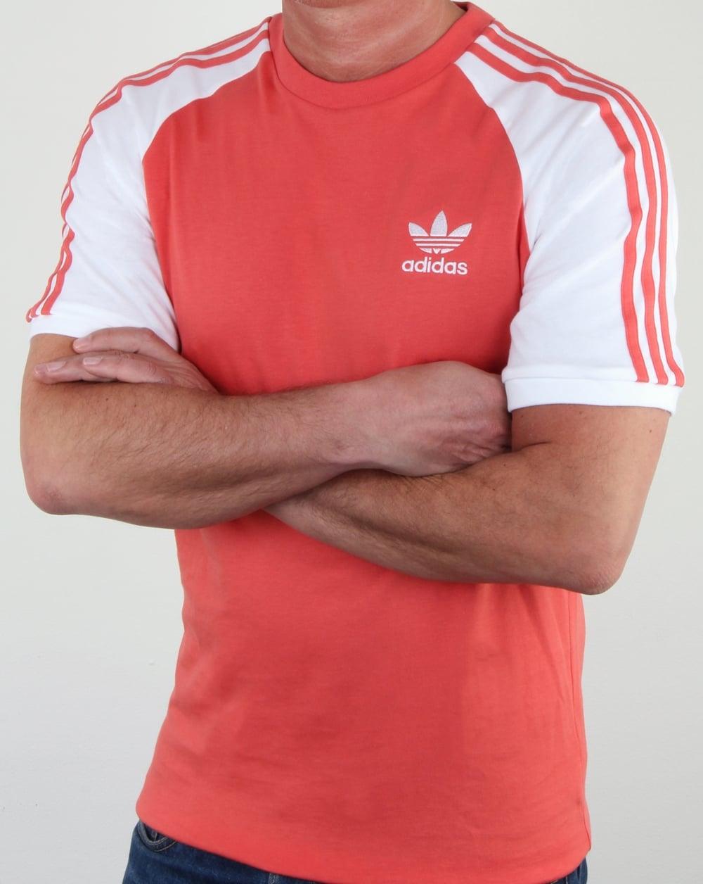0500a77e27 Adidas Originals 3 Stripes T Shirt Scarlet, Red,white, retro,3,tee