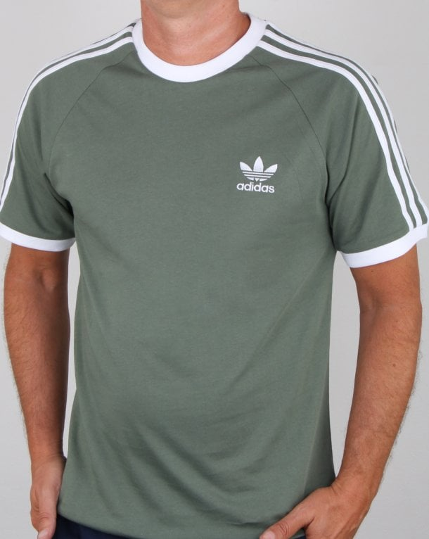 Adidas Originals 3 Stripes T Shirt Trace Green