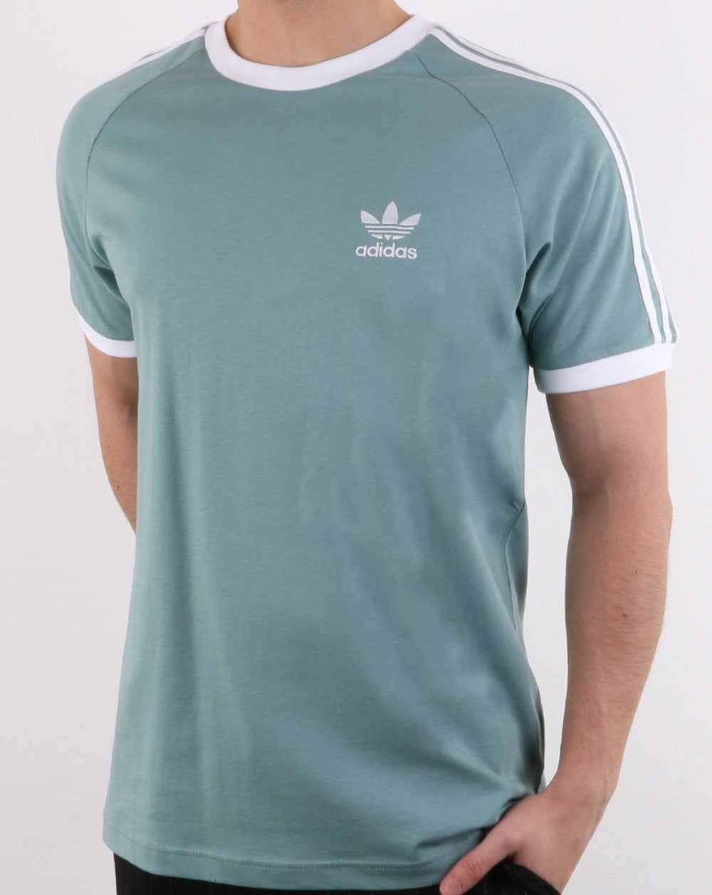 Adidas Originals 3 Stripes T Shirt Vapour Steel