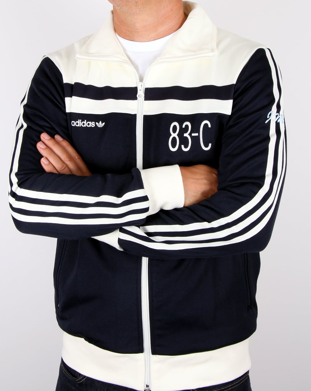 Adidas Top Ten Hi Sleek Bow Zip Trainers: Adidas Originals 83-C Track Top Navy/Off White,tracksuit