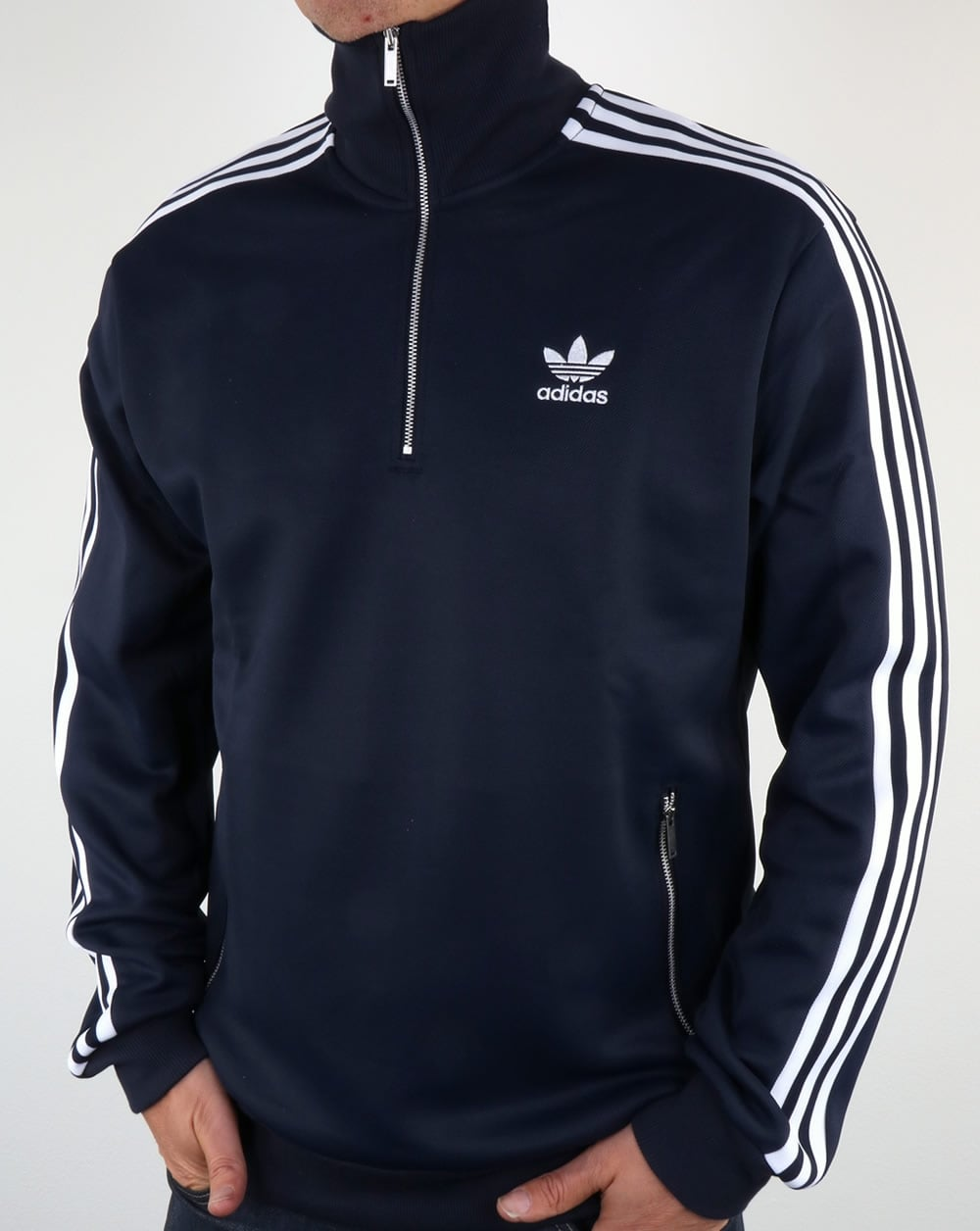 Adidas Originals Half Zip Track Top Navy Blue Quarter