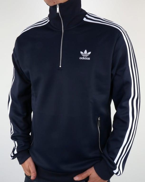 Adidas Originals Half Zip Track Top Navy Blue Quarter