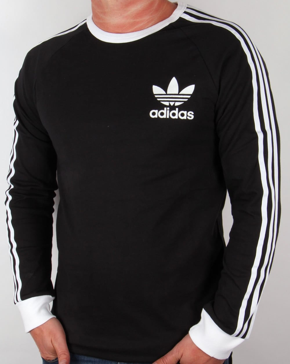 Adidas originals adicolour long sleeve t shirt black white for Adidas long sleeve t shirt with trefoil logo