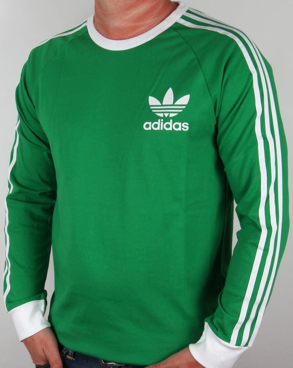 Adidas originals adicolour long sleeve t shirt green white for A long sleeve shirt