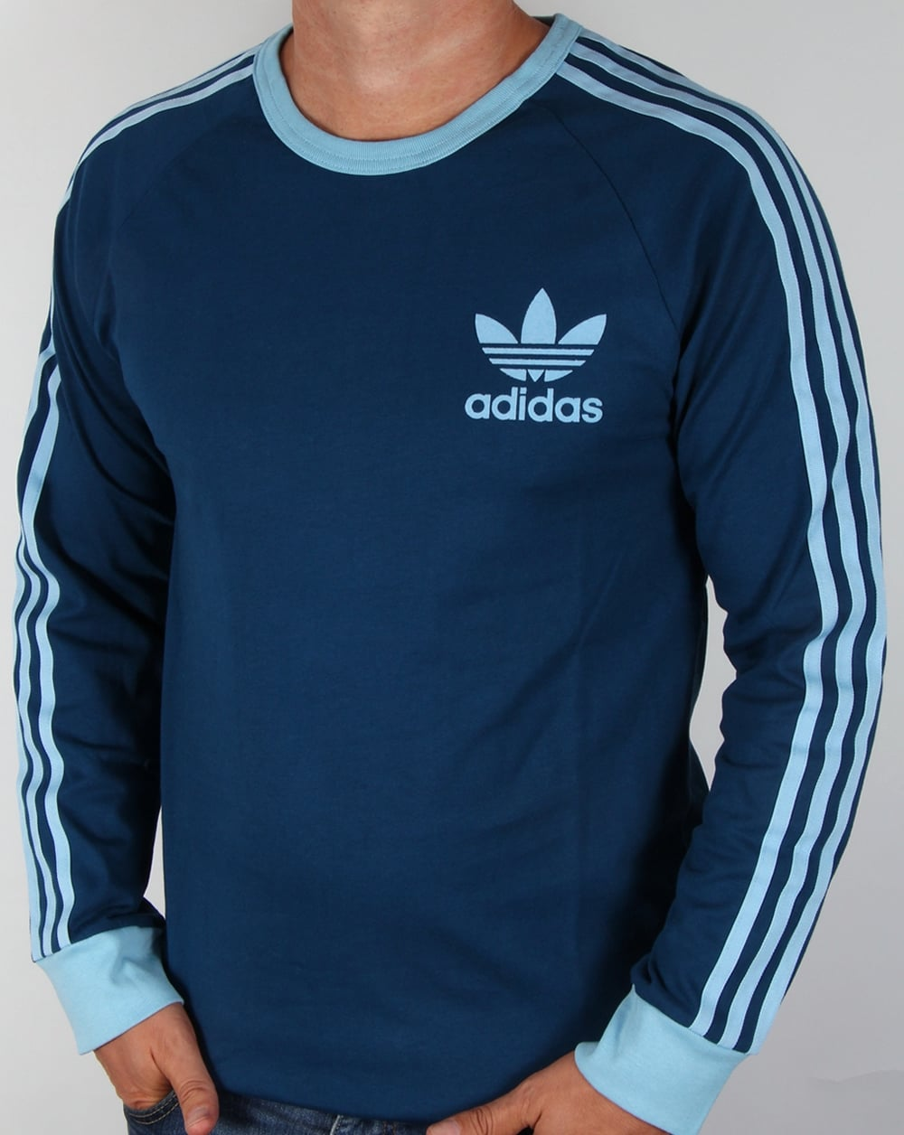 Adidas originals adicolour long sleeve t shirt shadow blue for A long sleeve shirt