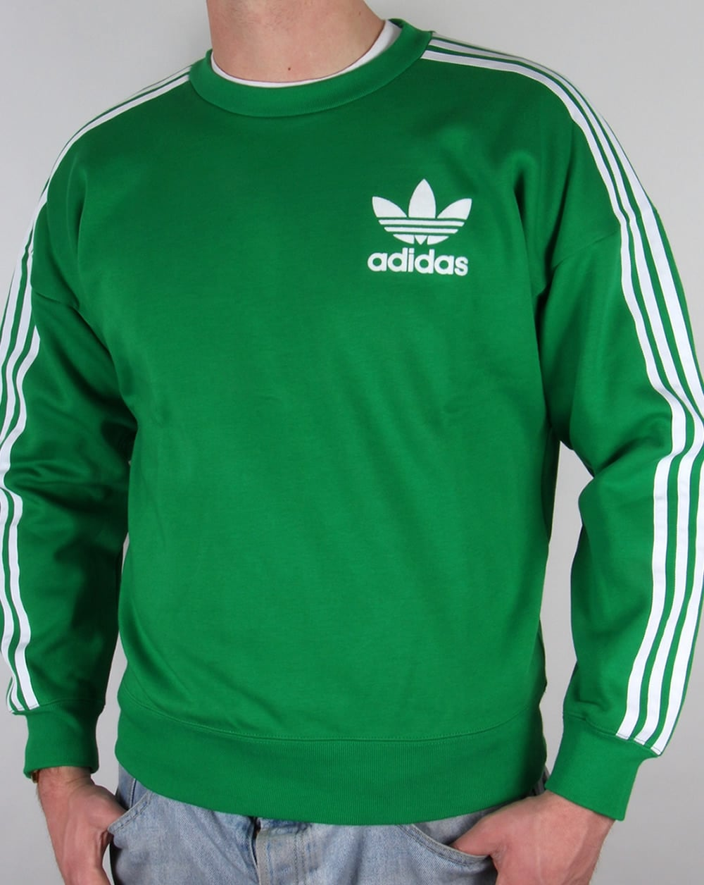adidas originals adicolour sweatshirt green white jumper. Black Bedroom Furniture Sets. Home Design Ideas