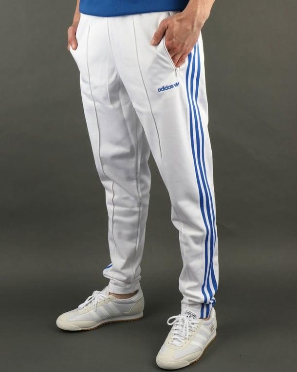white adidas track pants