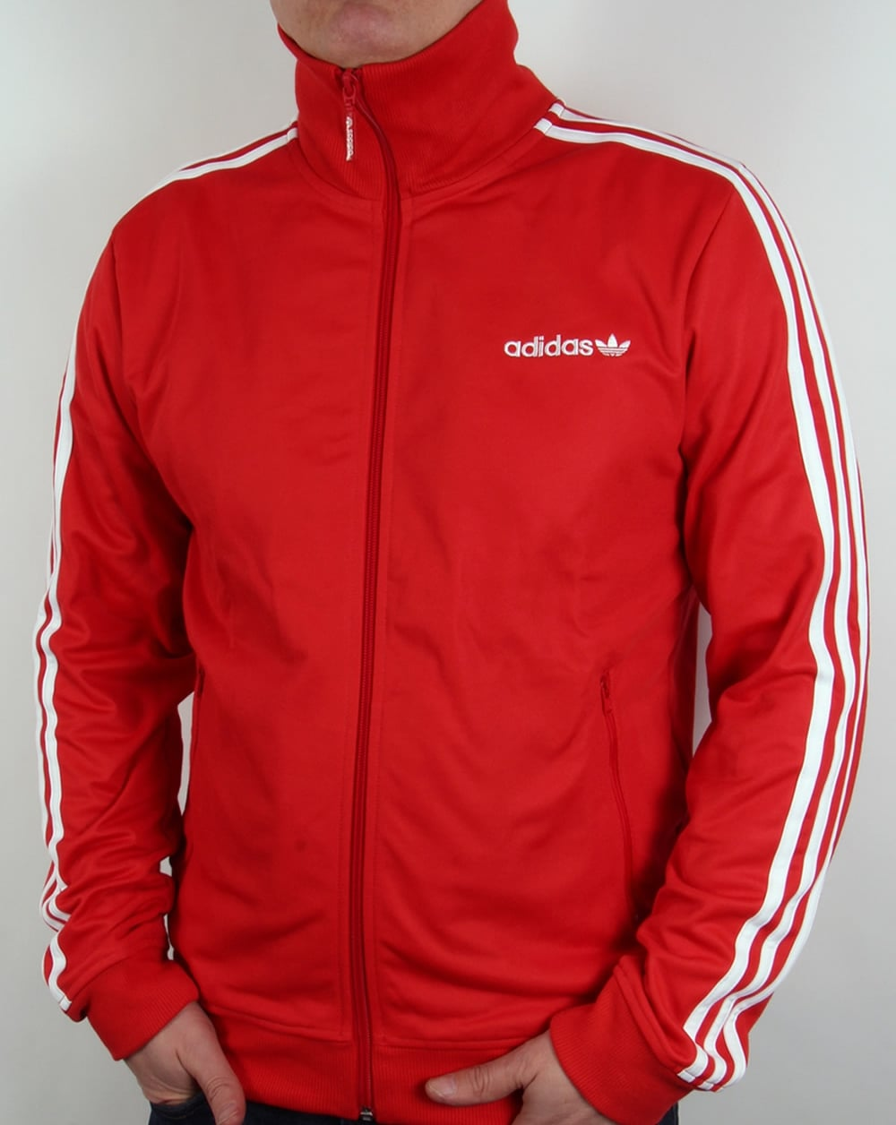 adidas originals beckenbauer track top redwhitetracksuit