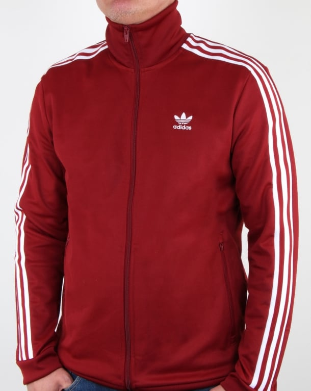 adidas beckenbauer jacket red