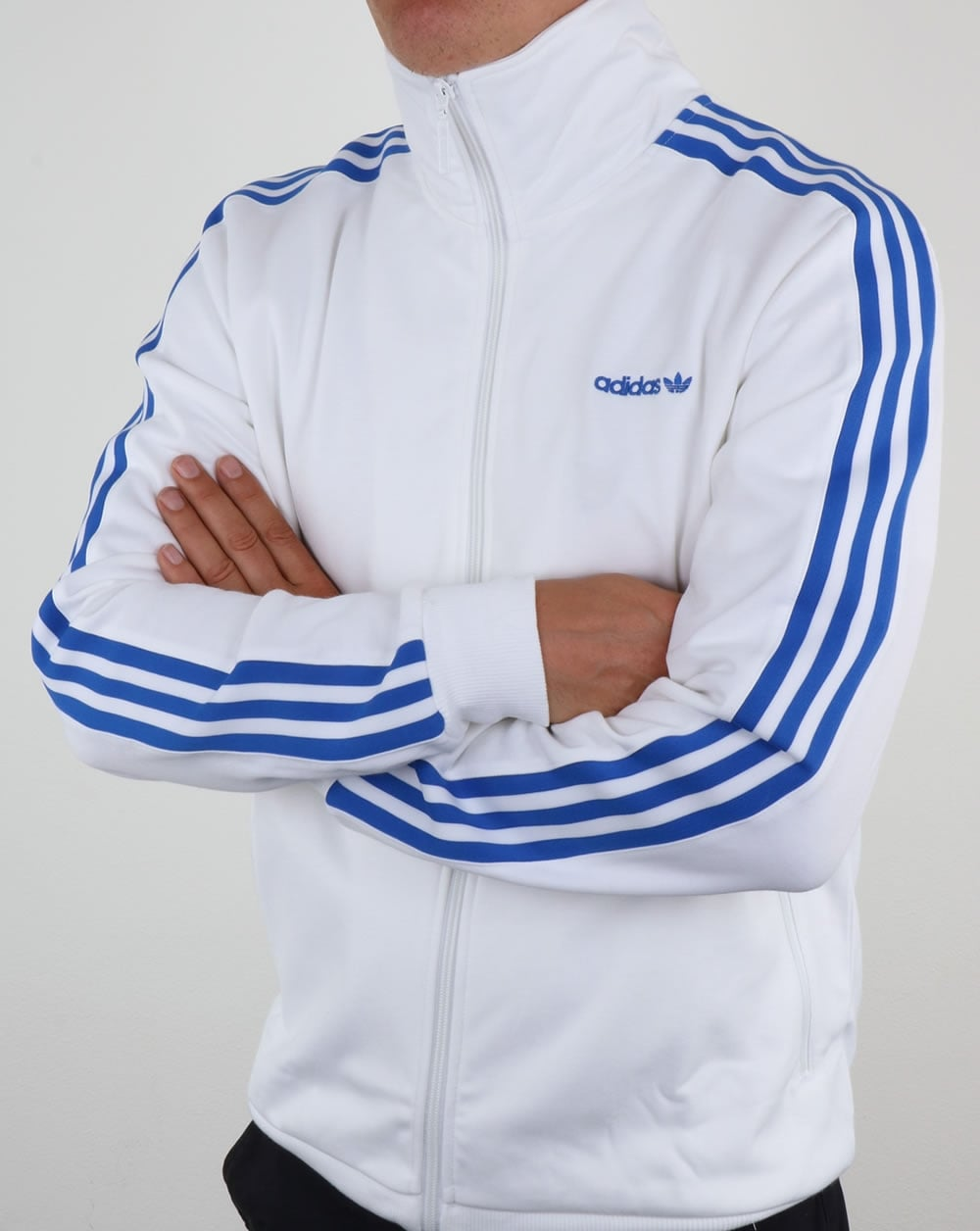 adidas beckenbauer track top white blue jacket. Black Bedroom Furniture Sets. Home Design Ideas