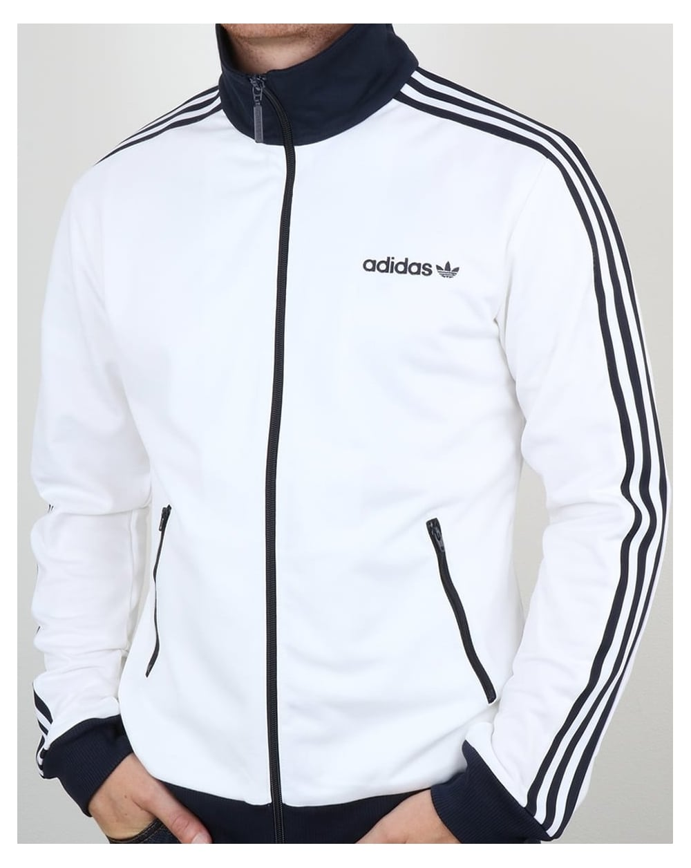 Adidas Top Ten Hi Sleek Bow Zip Trainers: Adidas Beckenbauer, Track Top, White, Navy, Jacket