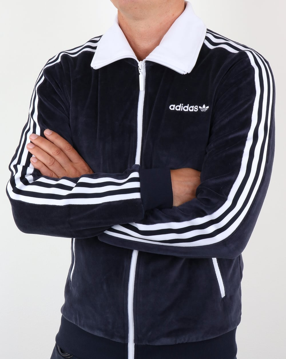 adidas originals os velour beckenbauer track top navy blue. Black Bedroom Furniture Sets. Home Design Ideas