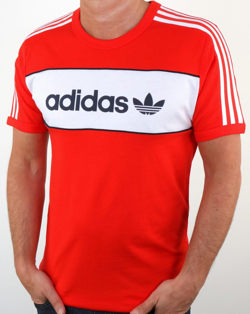 Adidas originals block t shirt core red trefoil crew neck for Adidas lotus t shirt