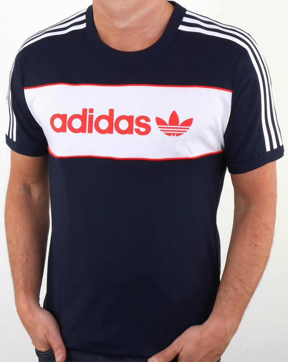 adidas originals block t shirt navy trefoil crew neck tee. Black Bedroom Furniture Sets. Home Design Ideas