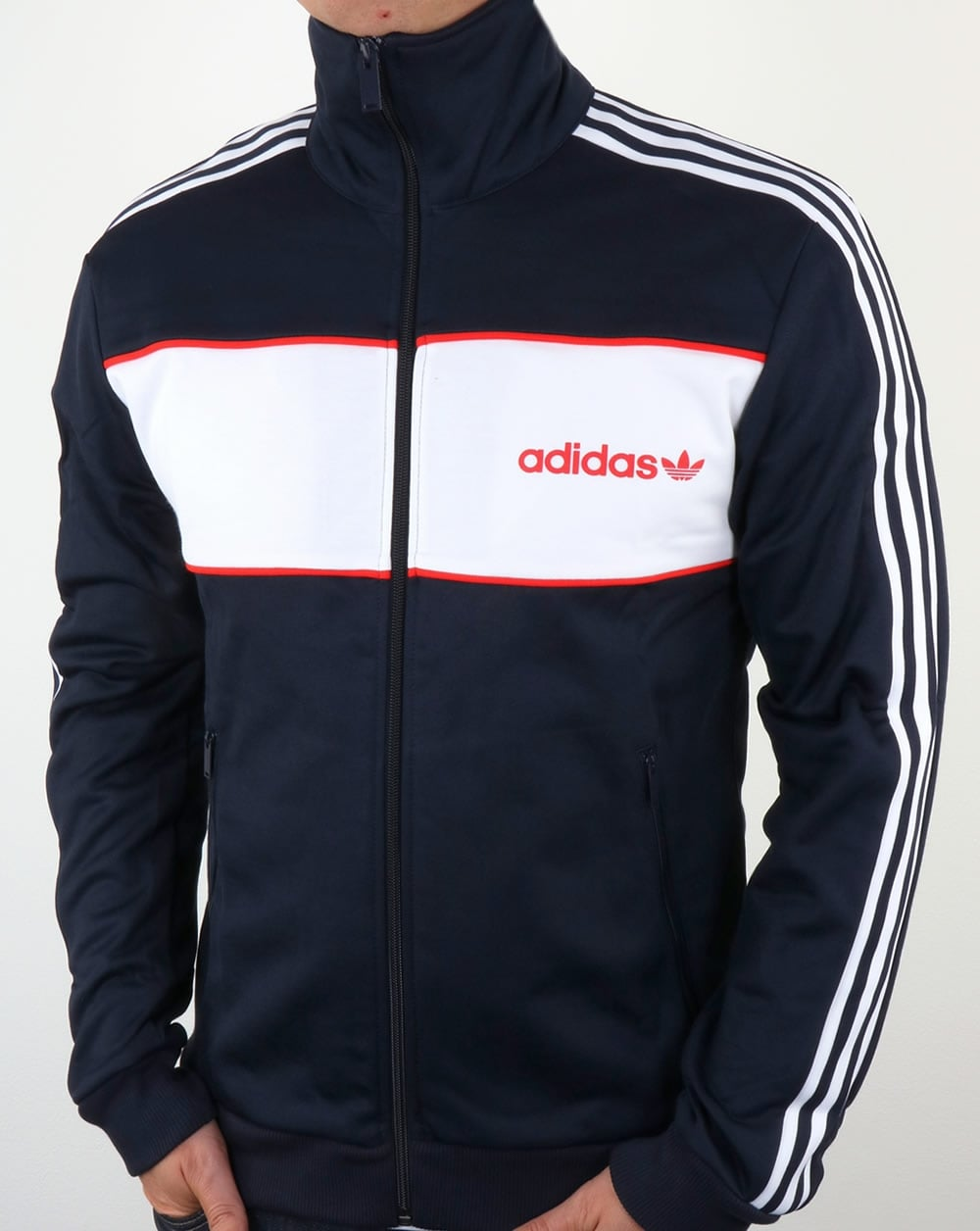 adidas originals block track top navy tracksuit jacket mens. Black Bedroom Furniture Sets. Home Design Ideas