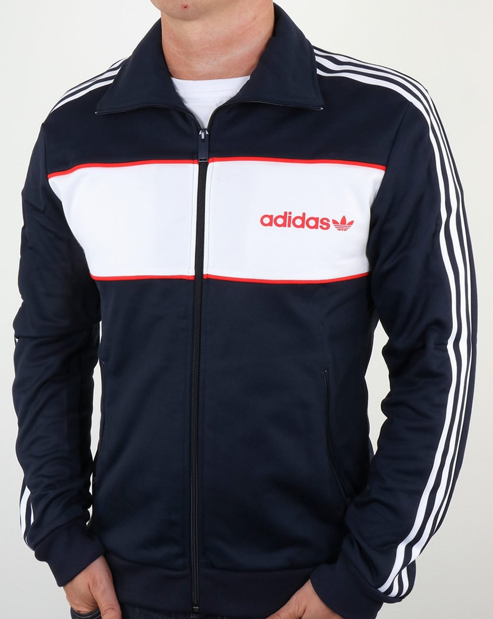 adidas originals block track top navy tracksuit jacket