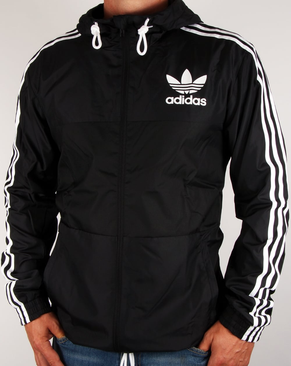 adidas originals california windbreaker black jacket coat mens. Black Bedroom Furniture Sets. Home Design Ideas