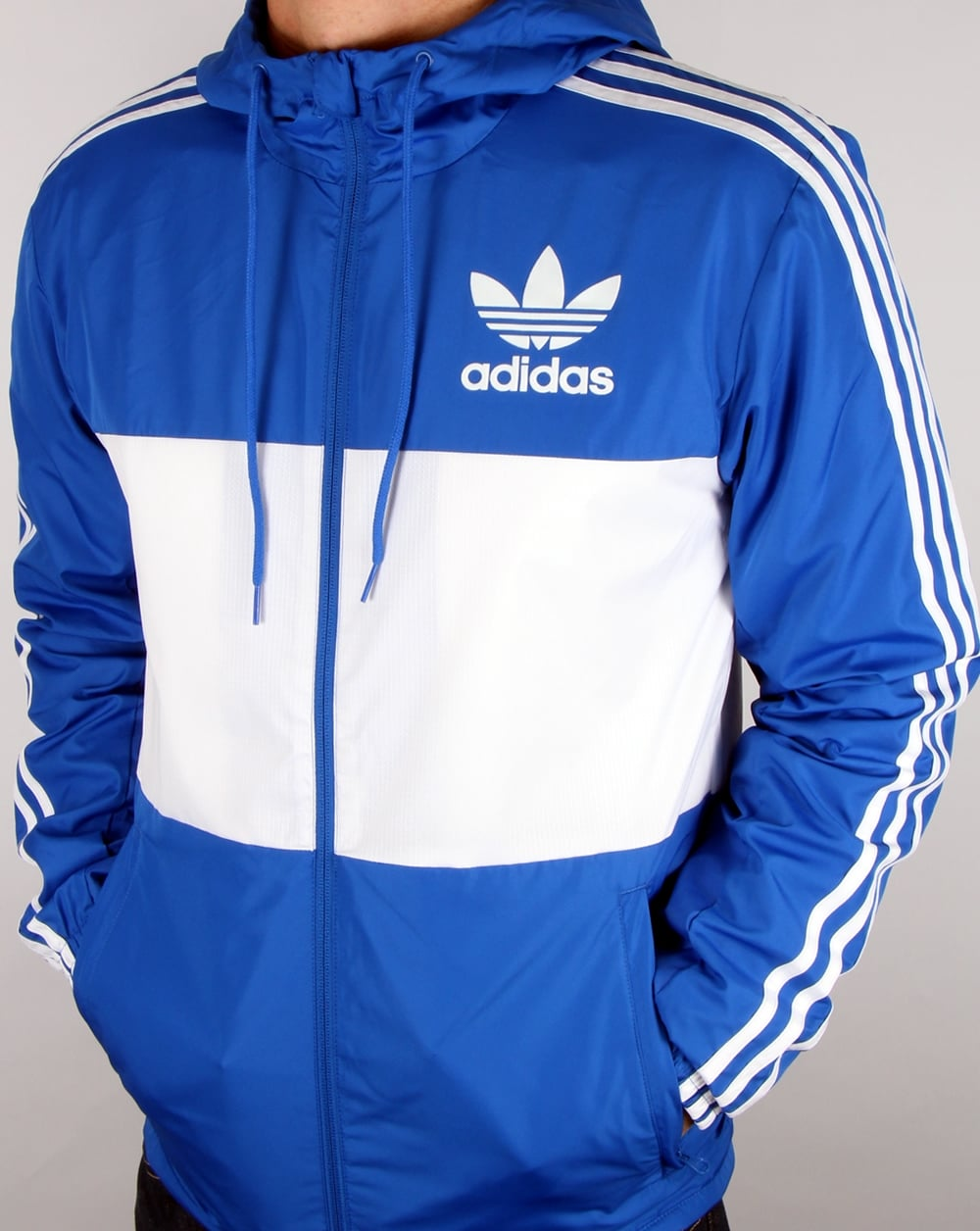 Adidas Originals California Windbreaker Blue white, Men s, Jacket fcf1c34a7e