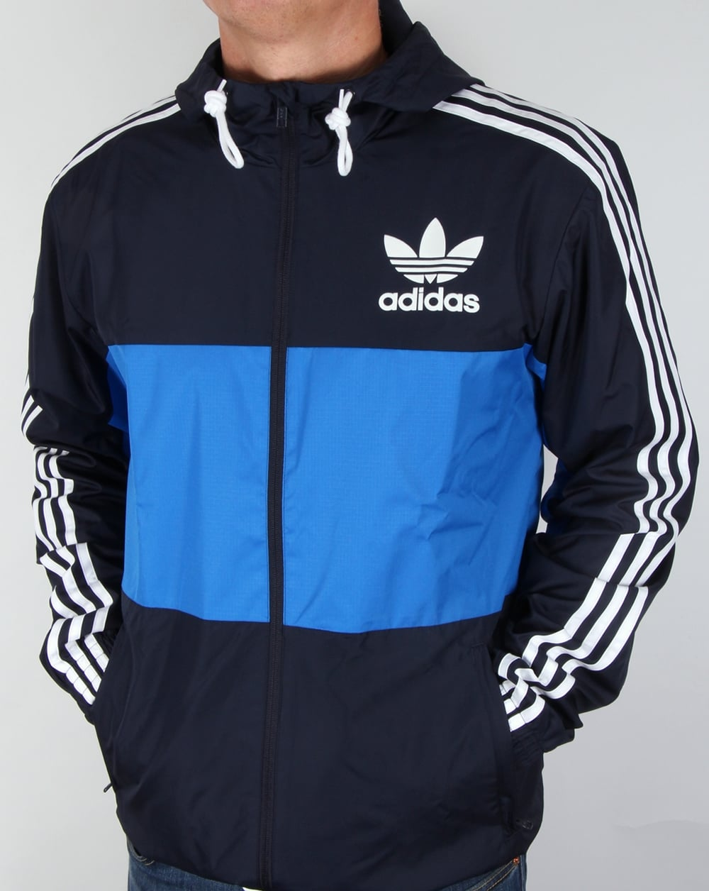 adidas originals california windbreaker navy bluebird. Black Bedroom Furniture Sets. Home Design Ideas