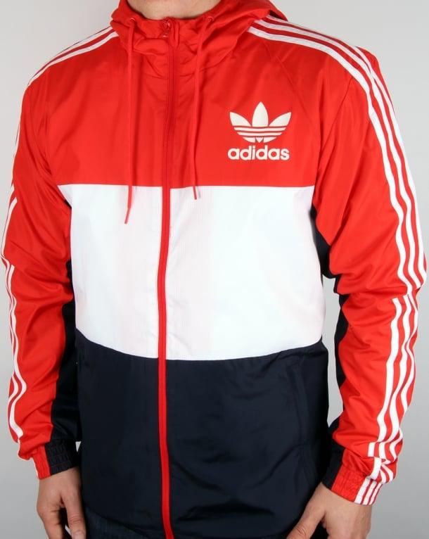 Adidas Originals California Windbreaker Red White Navy Men S Jacket