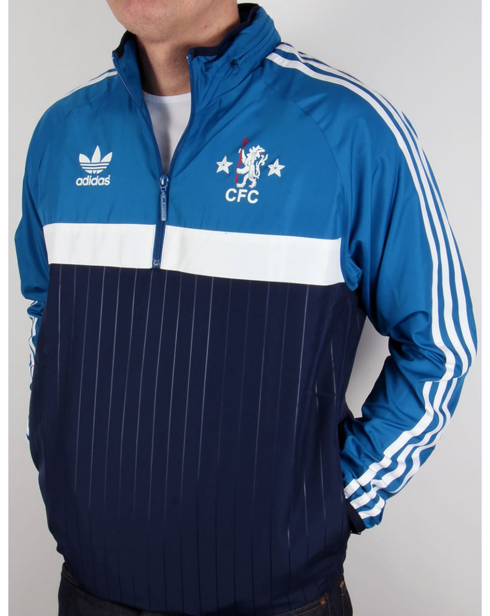 adidas originals chelsea fc half zip windbreaker navy. Black Bedroom Furniture Sets. Home Design Ideas